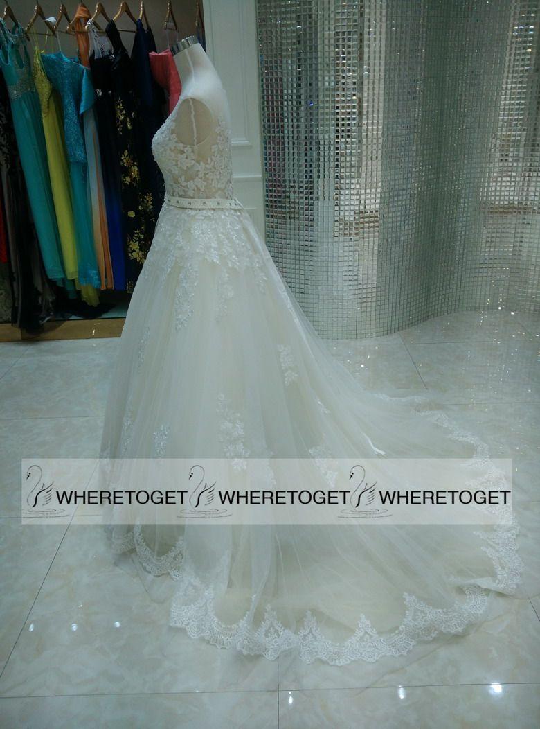 Real Images 2019 Milla Nova Sheer Castelo Vestidos de Noiva Bola Ilusão de Bolsa Apliques de Lace Capela Train vestido de noiva para o estilo ocidental