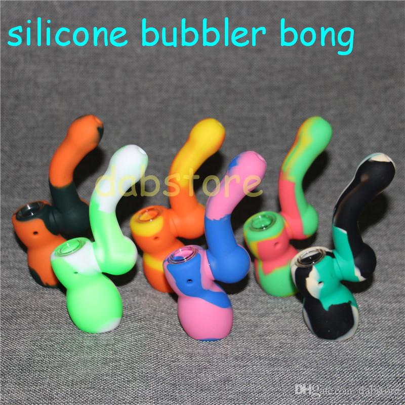 Colorful Hookahs Silicone Bongs with glass bowl silicone water pipe dab rig 14 mm joint silicone bubbler bong nectar collector kits