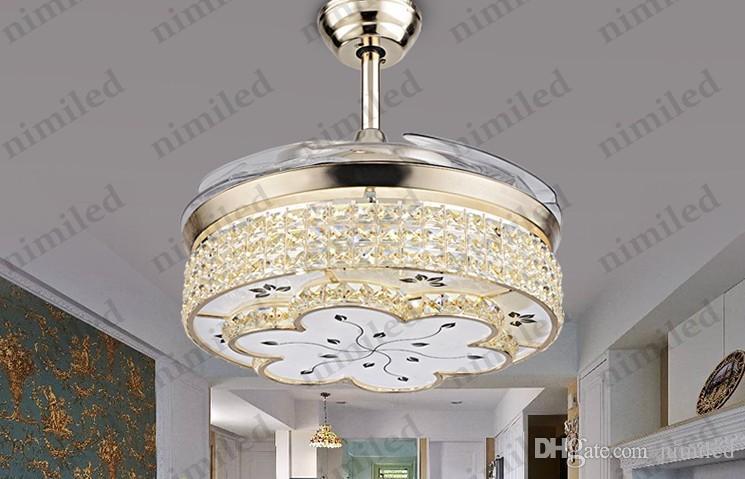 NIMI914 Unsichtbares Wohnzimmer einziehbar Kristall Deckenventilator Lichter Restaurant Light Bedroom Modern Luxus Kronleuchter Pendelleuchten
