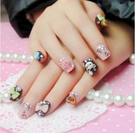 Children fake nails mixed colors full cover false nails 3d nail see larger image prinsesfo Gallery
