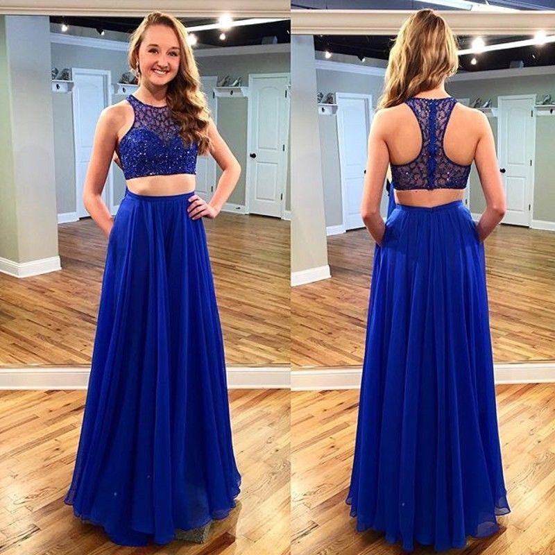 2016 Två stycken Royal Blue Beaded Prom Klänningar En Linje Golv Längd Back Zipper Long Chiffon Formell Party Gown