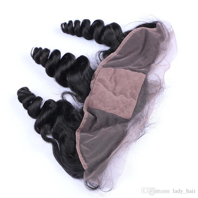 Reine brasilianische Menschenhaar lose Welle wellig 4x4 Silk Base Lace Frontal Schließung Jungfrau Remy Haar Seide Top Lace Frontal Stück gebleichte Knoten