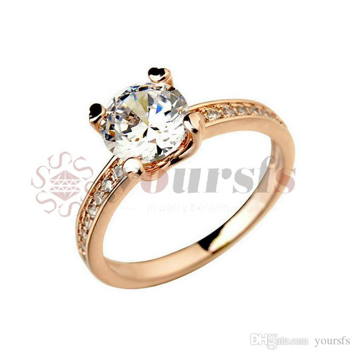 Yoursfs Fashion Jewelry Rose gold Color Cubic Zirconia Wedding Crystal Rings for Women Gift