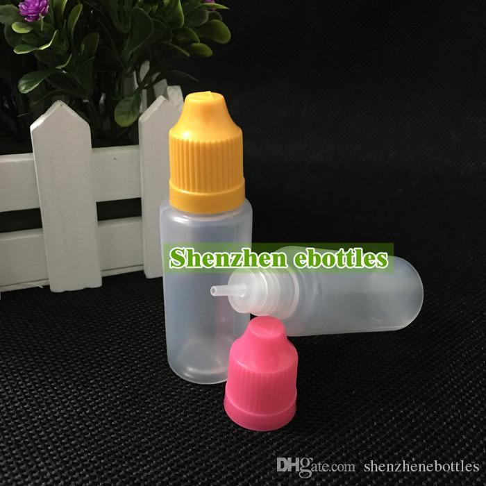 venta al por mayor caliente botellas vacías de colores a prueba de niños Chapa de botella vacía Botellas de 20 ml Liquid E plástica del cuentagotas con consejos fina larga