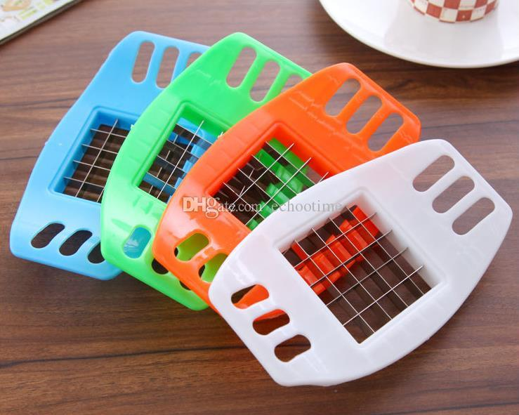 Newest Stainless Steel Potato Cutter Vegetable Slicer Chopper Chips Device Fries Kitchen Cooking Tools Potato Vegetable Slicer