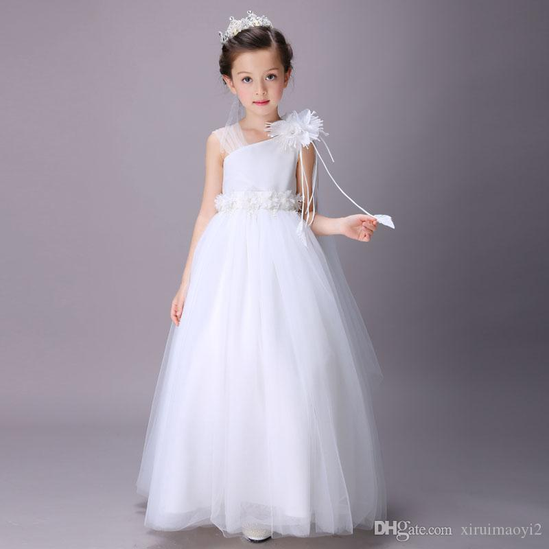 011dcc0a04d76 Super Cheap Elegant Girl Wedding Bridesmaid Dresses Summer White Long Tulle  Evening Party Princess Costume Lace Teenage Flower Girls Clothes