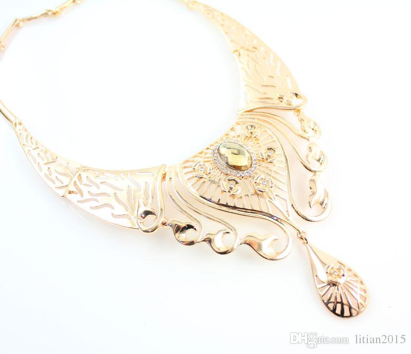 Women Charming 18K Gold Plated African Costume Jewelry Sets Nigerian Dubai Wedding Hollow Patterns Jewelry Set