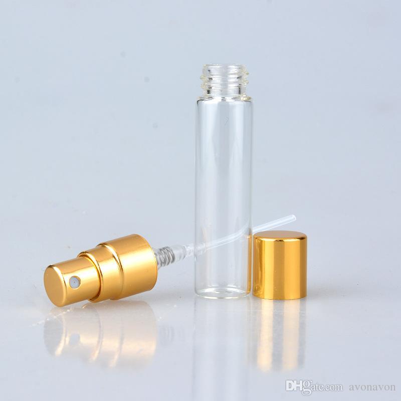 5ml 10ml 투명 유리 스프레이 병 빈 맑은 재충전 가능한 향수 분무기 골드 실버 캡 휴대용 샘플 유리 바이알 B706