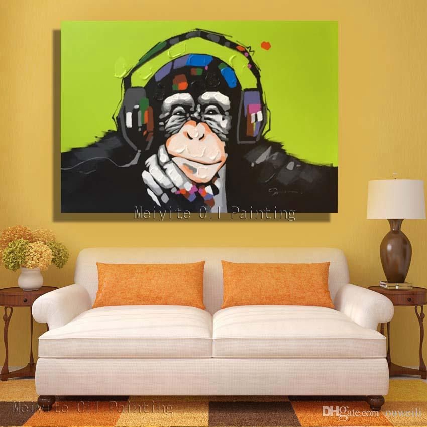 cheap price wholesale abstract animal monkey oil painting for bedroom wall decor handmade wall decoration