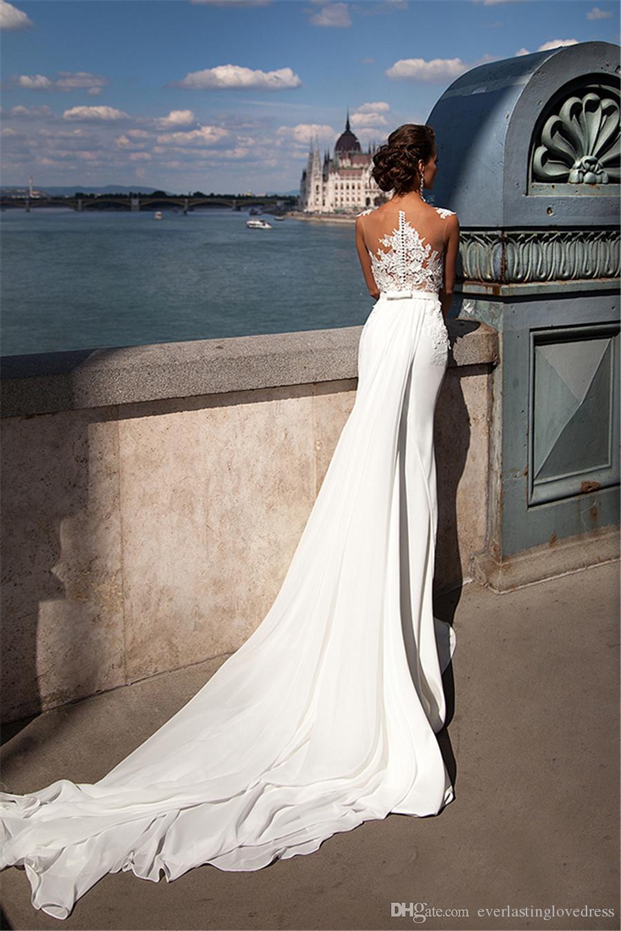 Scoop applique dentelle voir à travers la miroir de mousseline de mousseline de sirène avec une jupe amovible robe de mariée de train Vestido de novia vintage