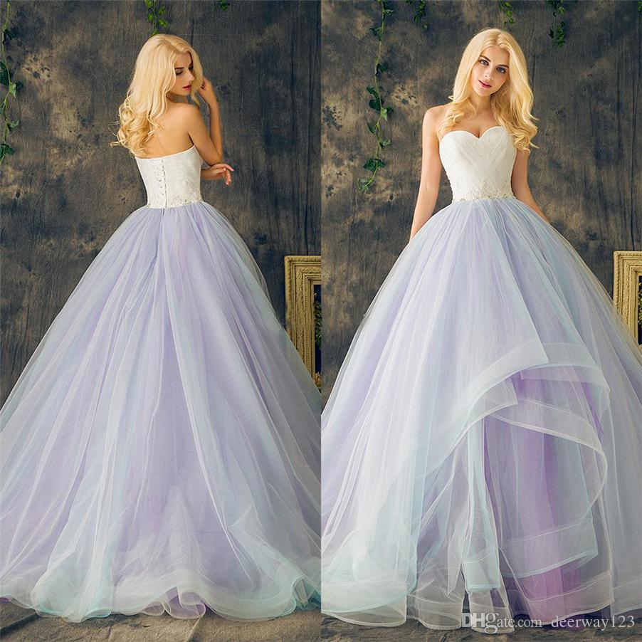Sweetheart Lace up Ball Gowns Purple Plus Size Multi Color Layers Skirt  Wedding Dresses Long Crystal Beading Lace Organza Bridal Dress
