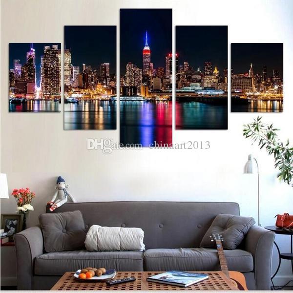 Paisagem Urbana 5 Peças HD imprimir pintura de cenário na arte da parede da lona fotos modern fashion home decor sala de estar quarto