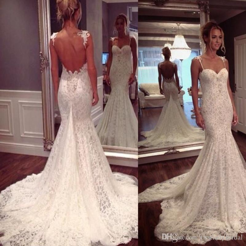 2017 Low Back Wedding Dresses Lace Spaghetti Straps Mermaid Trumpet ...