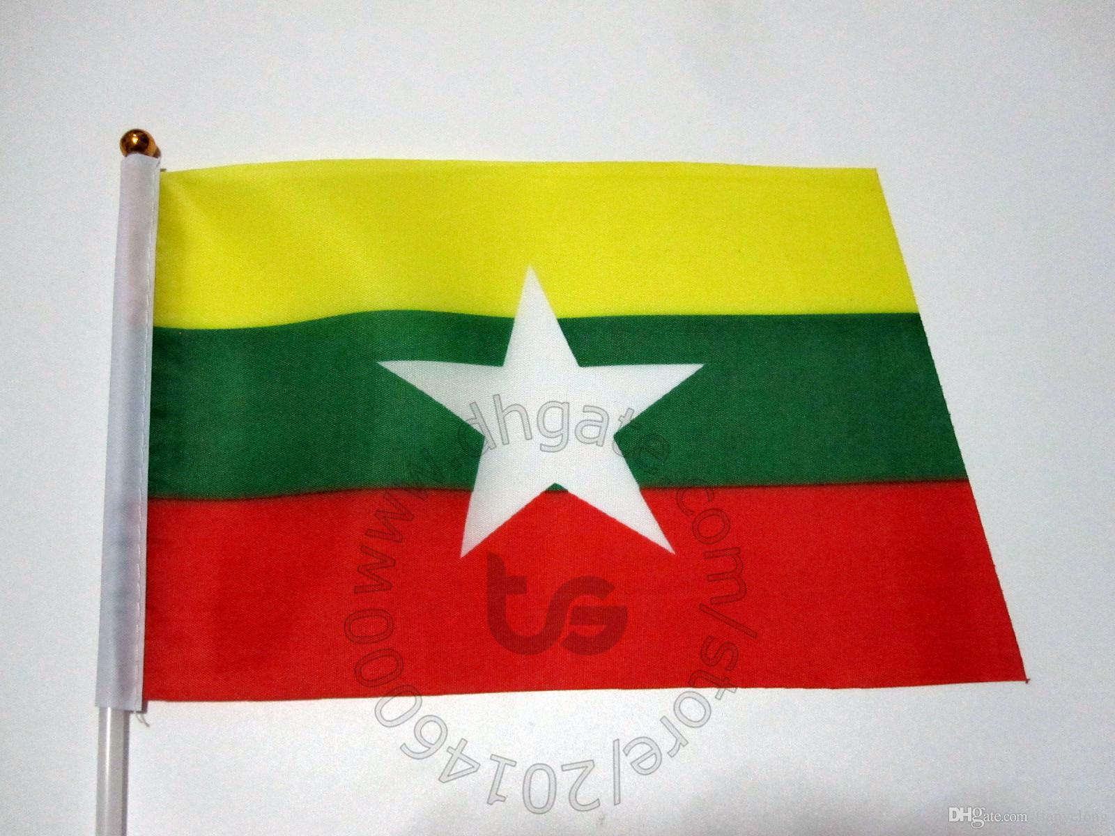 Мьянма Бирма флаг баннер 10 шт./Лот 14x21cm флаг 100% полиэстер флаги с пластиковыми флагштоками для украшения торжества Мьянма Бирма