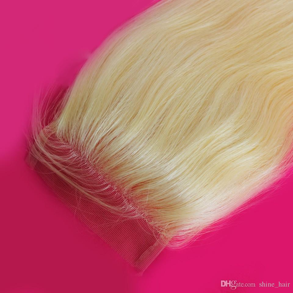 Malasio Blonde 4x4 Lace Top Closure con pelo de bebé Recto # 613 Platinum Bleach Blonde Lace Closure Pieces Free Middle Three Part
