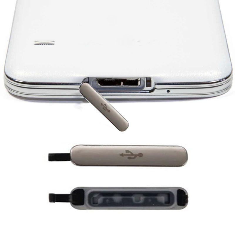 Samsung Galaxy S5 G900 G900F G900T G900V G900H VS G900A G900p Yeni Orjinal USB şarj şarj portu için su geçirmez kapak durumda Tak yerleştirmek