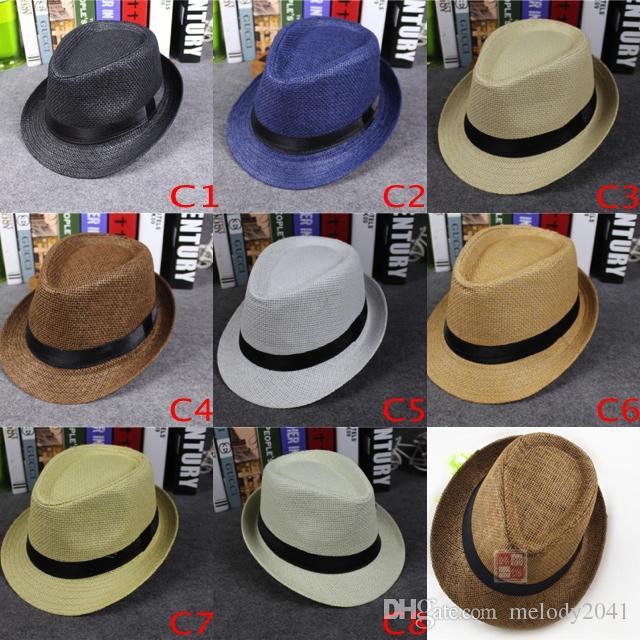 Vogue Femmes Et Hommes Paille Panama Chapeaux Et Enfants Taille Mode D'été Fedora Stingy Brim Chapeaux Parents Sun Caps 8 Couleurs