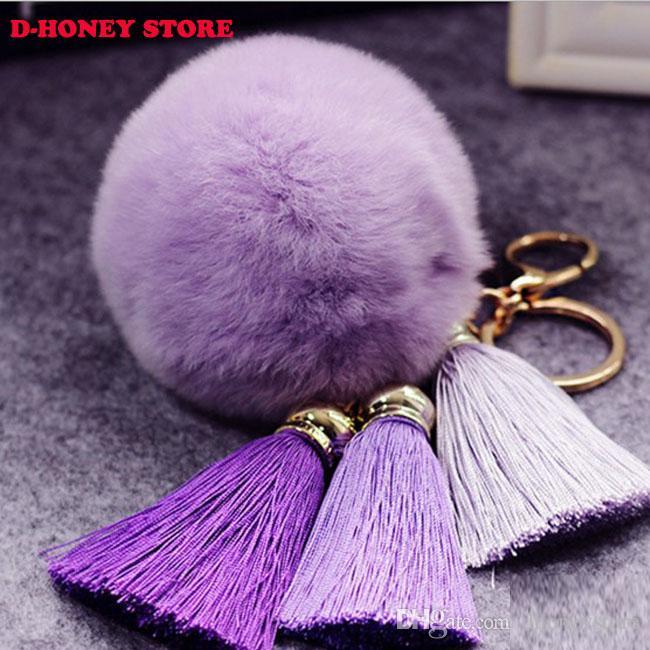 New Fashion Chaveiro Keychain Fur Pom Pom Key Chain Faux Rabbit Hair Bulb with tassels Bag Car Ornaments Fur Ball Pendant Best Gifts