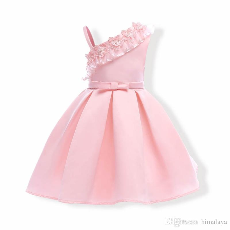 c05f43b11 2019 2017 Childrens Pink Princess Dresses Kids Party Clothes Baby ...