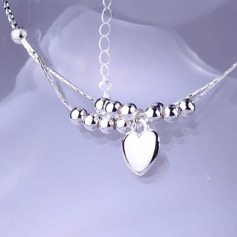 925 anklets en argent sterling bijoux pour femmes double couche argentée heart perles perles de cheville bracelets d'été plage bijoux bijoux de corps