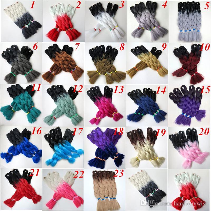 Kanekalon jumbo synthetic braiding Hair Bulk Folded 24inch 100g Black&burdundy Ombre Two Tone Crochet braids Twist Hair Extension