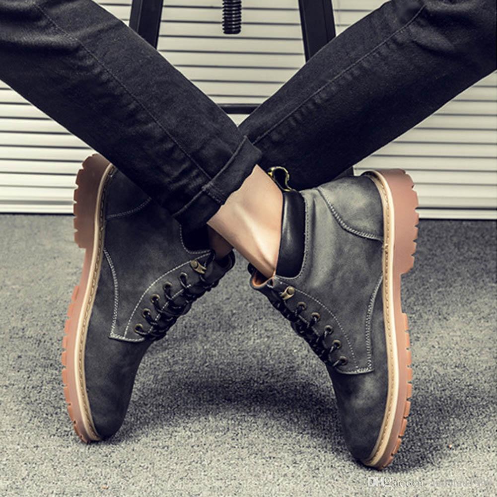 Mens Fashion Leather 마틴 부츠 가을 인과 관계 남성용 옐로우 스웨이드 앵클 부츠 블랙