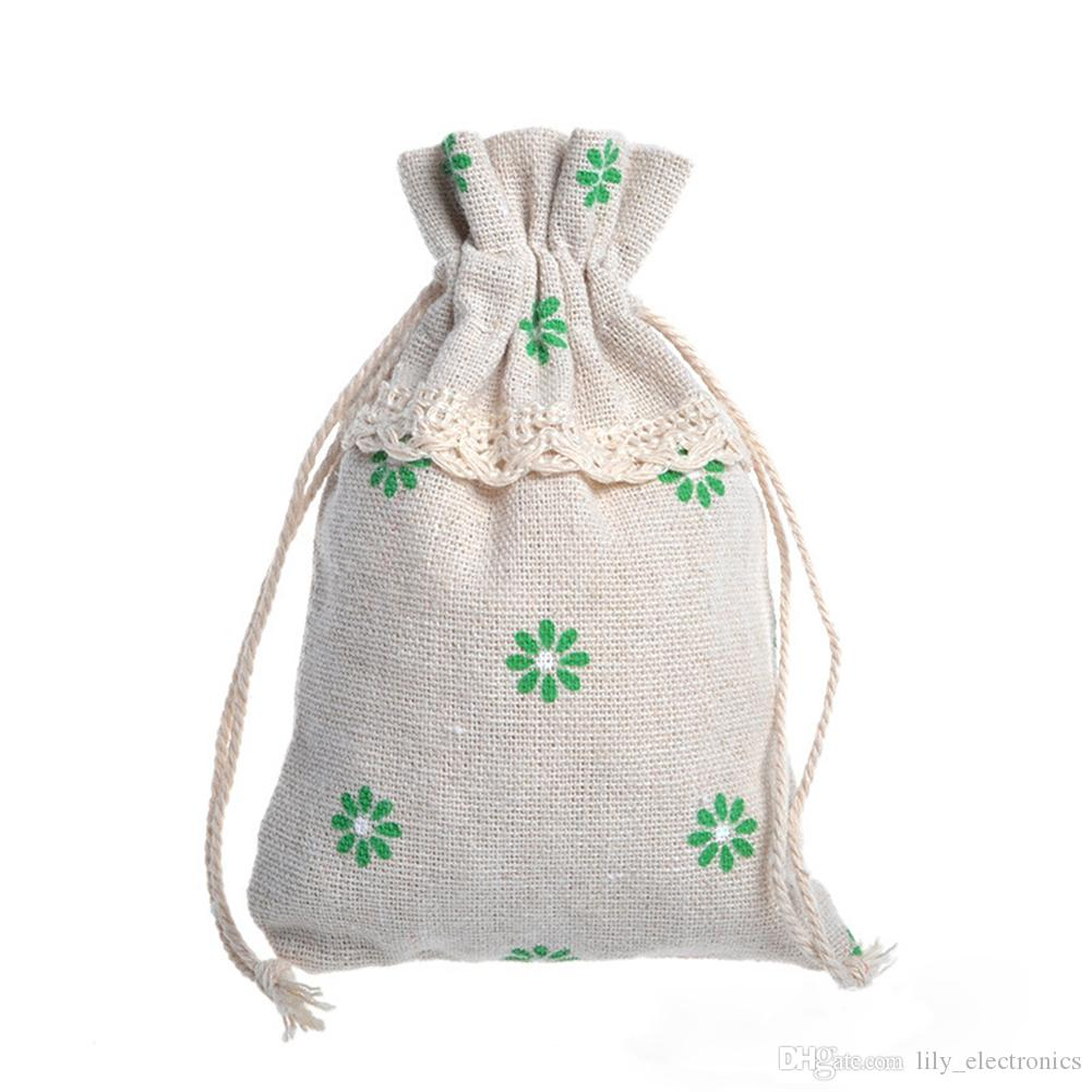 Drawstring Cotton Linen Lace Pouches Pastoral Red Flowers Gift Bag Candy Packing Bag Color Send Randomly