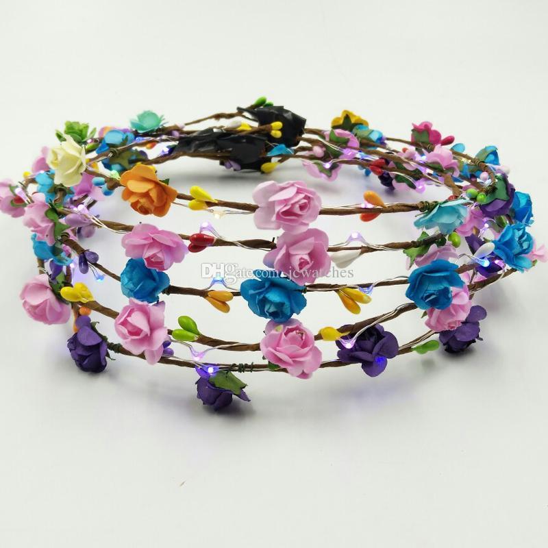 LED clignotant coloré fleur bandeau Light Up Floral cheveux Garland Couronne de mariage femmes fille Accessoires cheveux