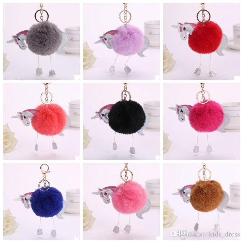 16 Colors 8cm Unicorn Pony Keychain Lovely Fluffy Pendant Artificial Rabbit Fur Key Chain Bag Car Key Ring Bag Accessories CCA7174 50pcs