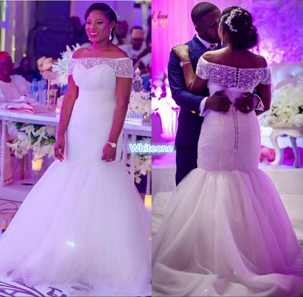 Modest Plus Size Sheer Beaded Neck Wedding Dresses For Nigeria Brides Mermaid 2016 Corset Back Bridal Gowns Tulle Sweep Train Custom Made