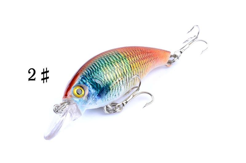 Colorful Painted Laser Minnow Bionic Fishing bait 7.5cm 8.4g Shallow Sinking Rock wobbler Artificial lure Hooks