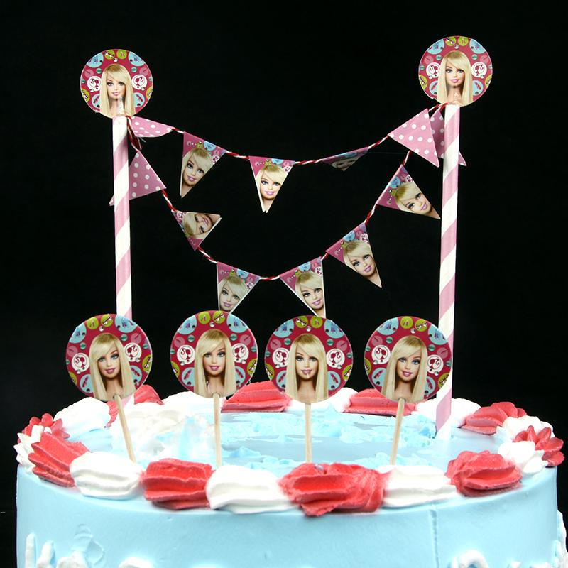 Wholesale Happy Birthday Popular Diycake Flag Cartoonprincess