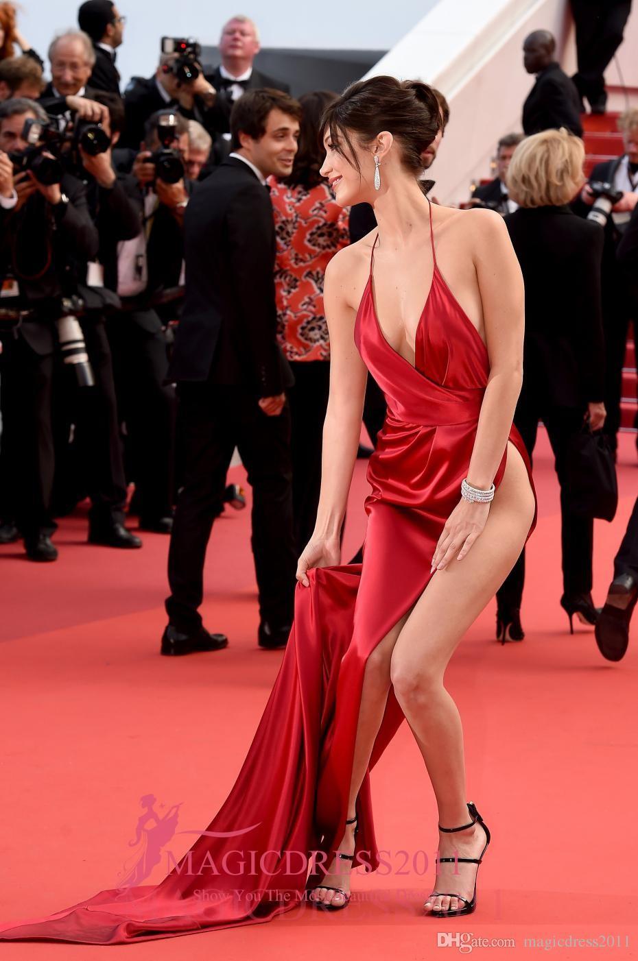 Bella Hadid Sexy Alta Dividir Mergulhar Vestidos de Noite de Celebridades Com Decote Em V Haltered Vermelho Vestido de Baile Cannes Backless Prom Formal Vestidos