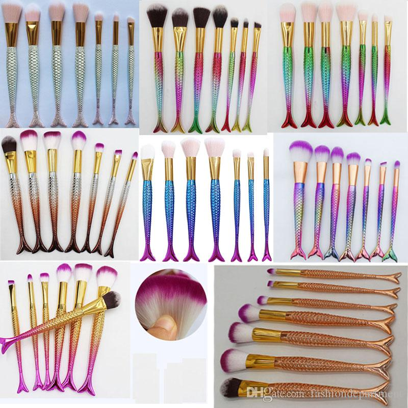 Most popular 3D Mermaid Makeup Brushes product Foundation Blusher eyeshadow Brushes Mix together