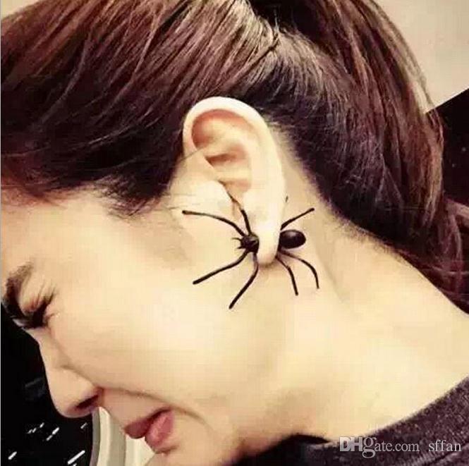 패션 여성 3D 귀 커프 스터드 펑크 스타일 블랙 거미 모양의 귀 반지 소름 끼치는 귀걸이