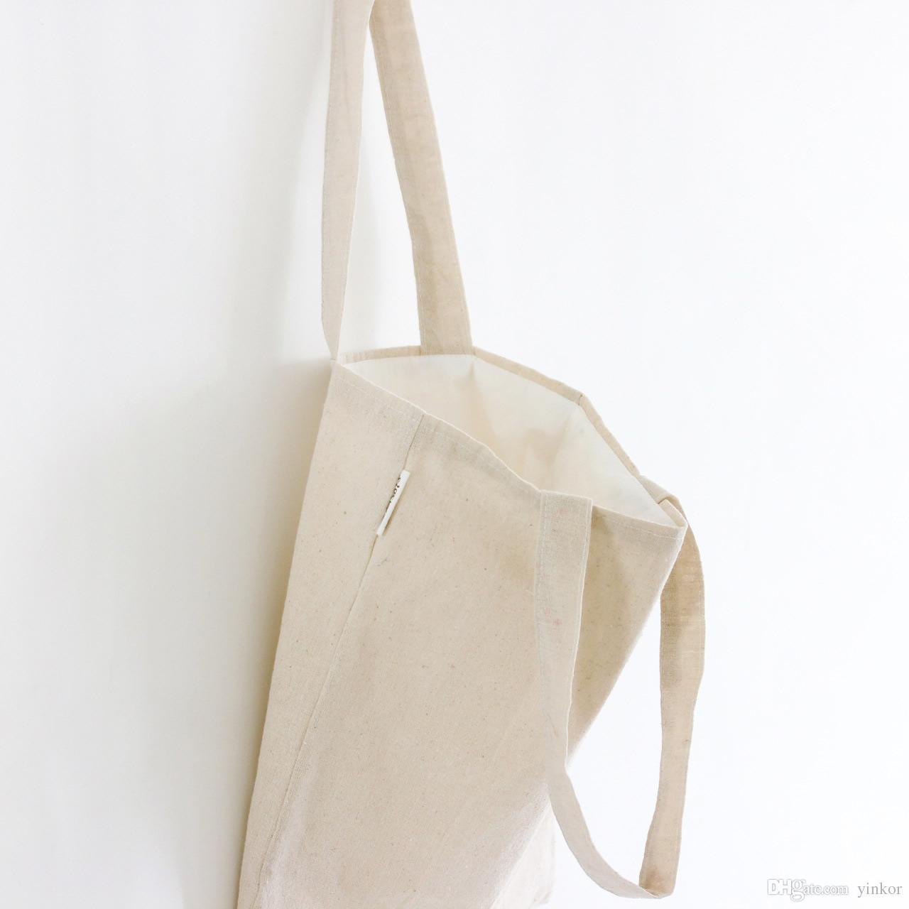 Pure Cotton Linen Canvas Plain Colors Tote Bags Sling Messenger Shoulder  Shopping Bag With Cotton Lining Zipper Or No Zipper Reusable Produce Bags  Purses ... 221180153a