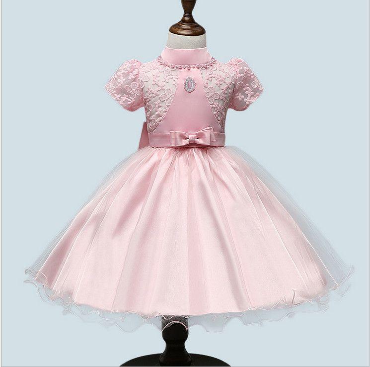 High quality 2016 summer turtleneck embroidery sashe beading dresses princess ball gown formal white wedding dress flower girl