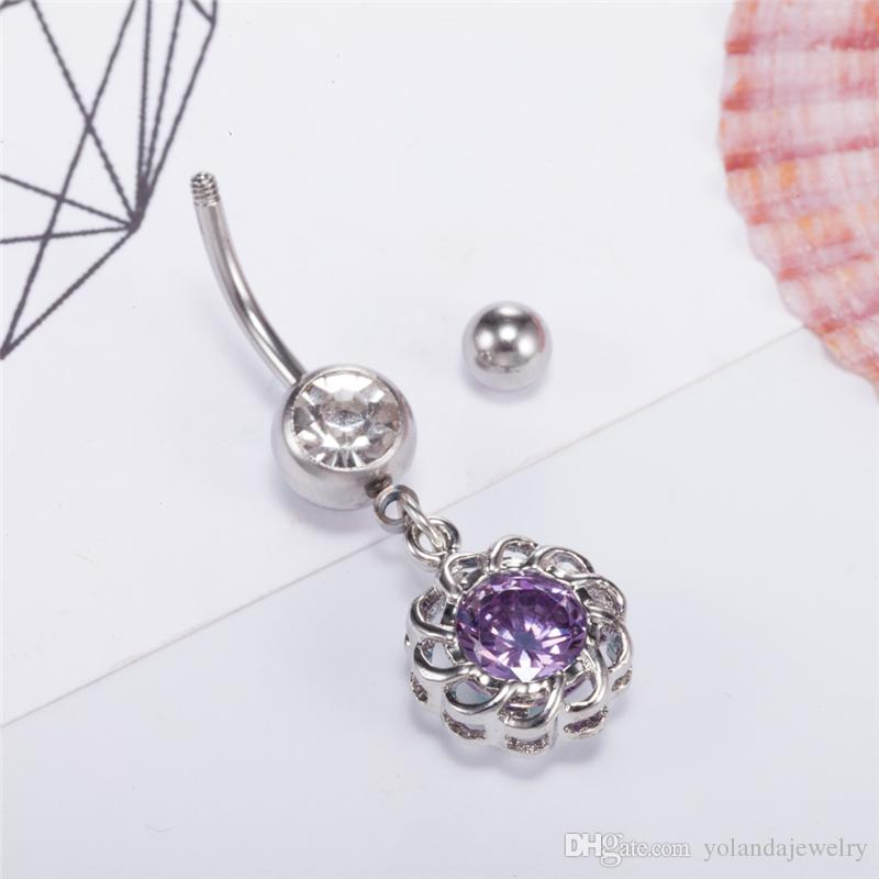 Unique Crystal Flower Navel Ring Women Body Jewelry 18K Platinum Trendy Gift Beach Party Belly Button Ring for Sexy Ladies