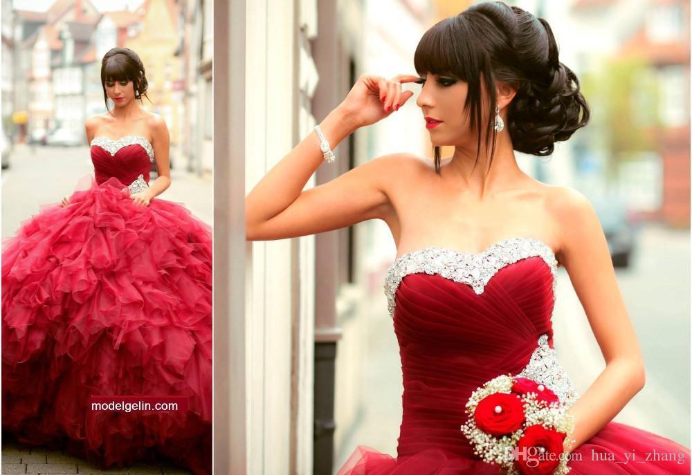 2016 Magnifique 16 Robe De Quinceanera Indien Sweetheart Bourgogne Princesse Robes Plissée Belle Robe De Bal Organza Robes De Bal