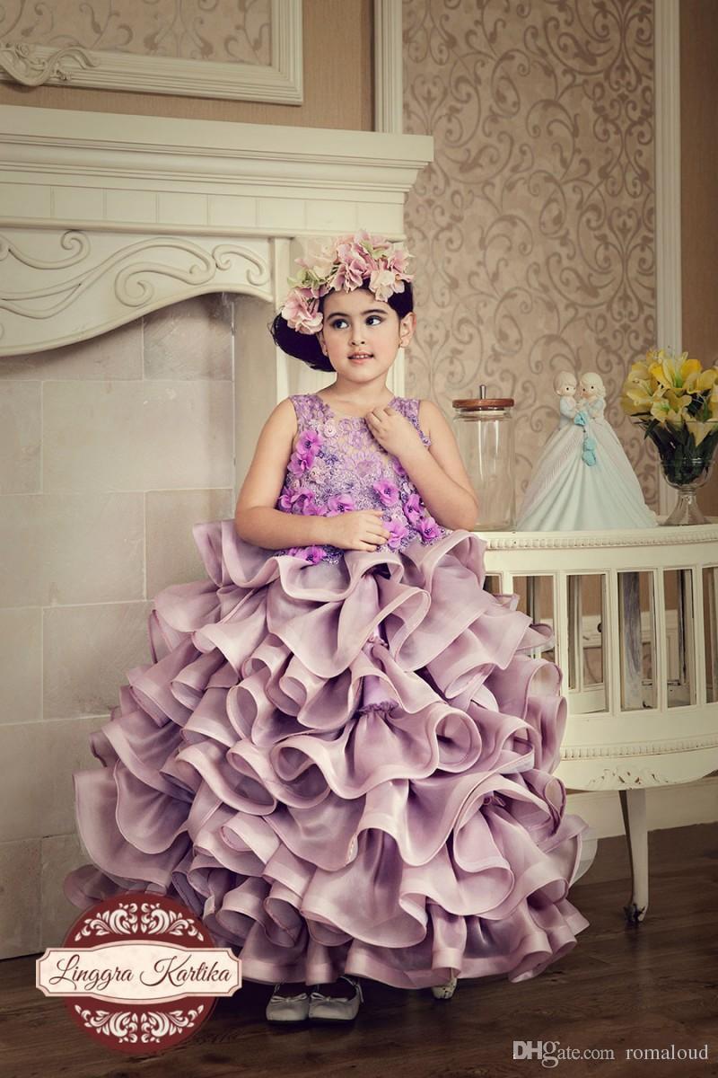 New Design 2017 Little Girls Pageant Dresses Princess Sheer Handmade