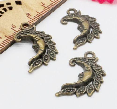 Freies Schiff 100 Stücke Bronze Überzogene Sun Moon Charms Anhänger Für Schmuck Machen Armband 27x15mm
