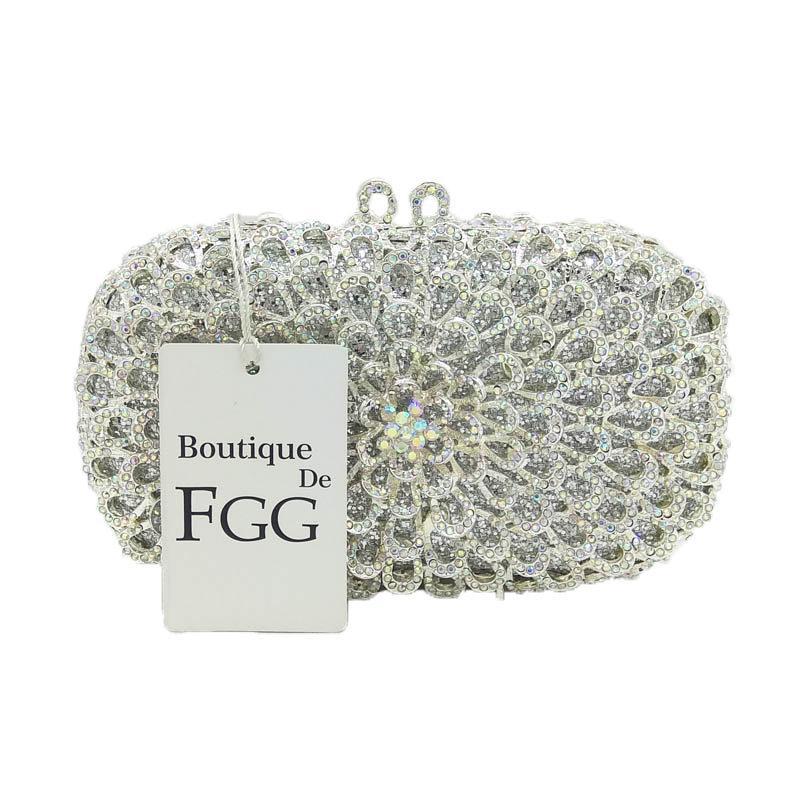 Gift Box Brand Women Clutches Crystal AB Metal Silver Evening Clutch Bags Wedding Dress Bridal Handbags Bolsa Festa de Noche