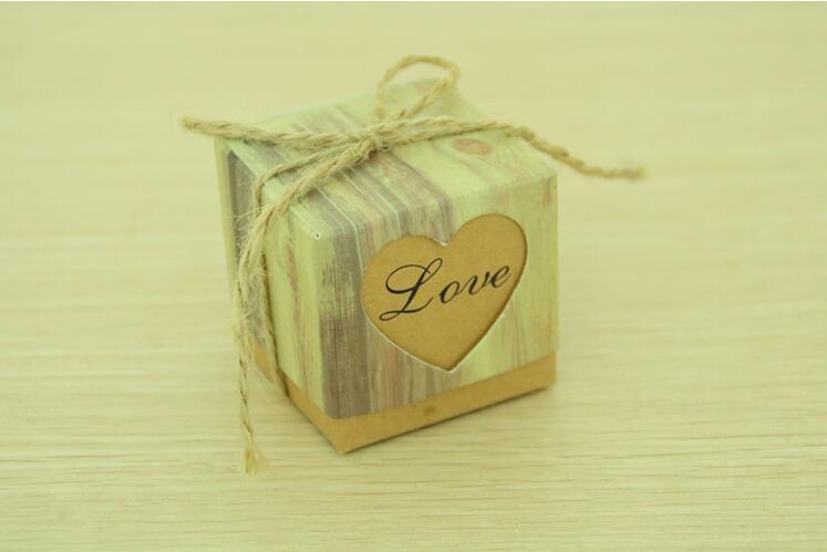 100pcs Kraft Gift Box Candy Boxes for Wedding Favor Boxes Packaging Rustic Imitation Bark with Burlap Twine
