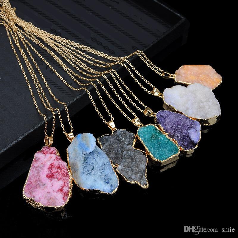 Hot Sale Irregular Druzy Natural Stone Necklace Quartz Chakra Crystal Necklace Slice Pendant Gold Color Chain Necklaces Women Jewelry