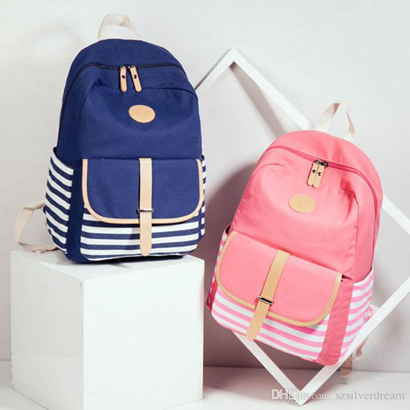 b62cbdd66935 Women Backpack Korean Fashion Traveling Backpack Navy Style Strips Students  Schoolbag Large Capacity Laptop Girls Bag For Pick Justice Backpacks Camping  ...