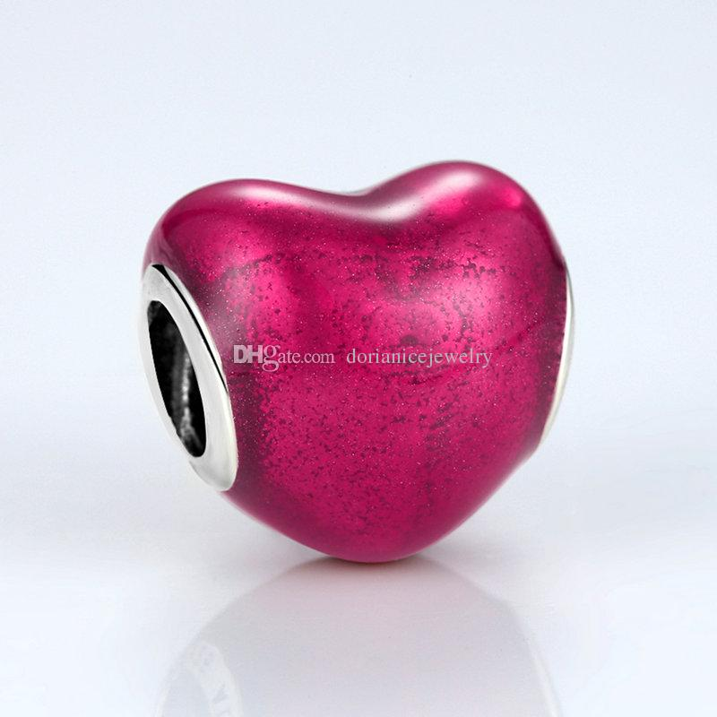 In My Heart Genuine 925 Sterling Silver Charms Violet Red Enamel Romantic Heart Beads for DIY Pandora Style Bracelets S265