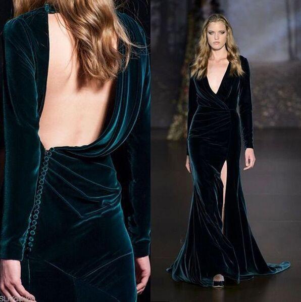 2019 Elie Saab Dark Green Velvet Split Evening Dresses So Hot Deep V-neck Backless Long Sleeve Sheath Occasion Formal Party Dress