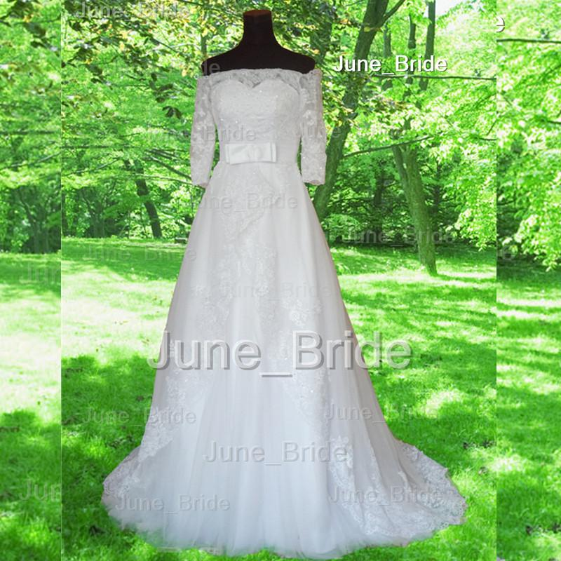 Discount Country Vintage Lace Wedding Dresses Off Shoulder Half Long ...