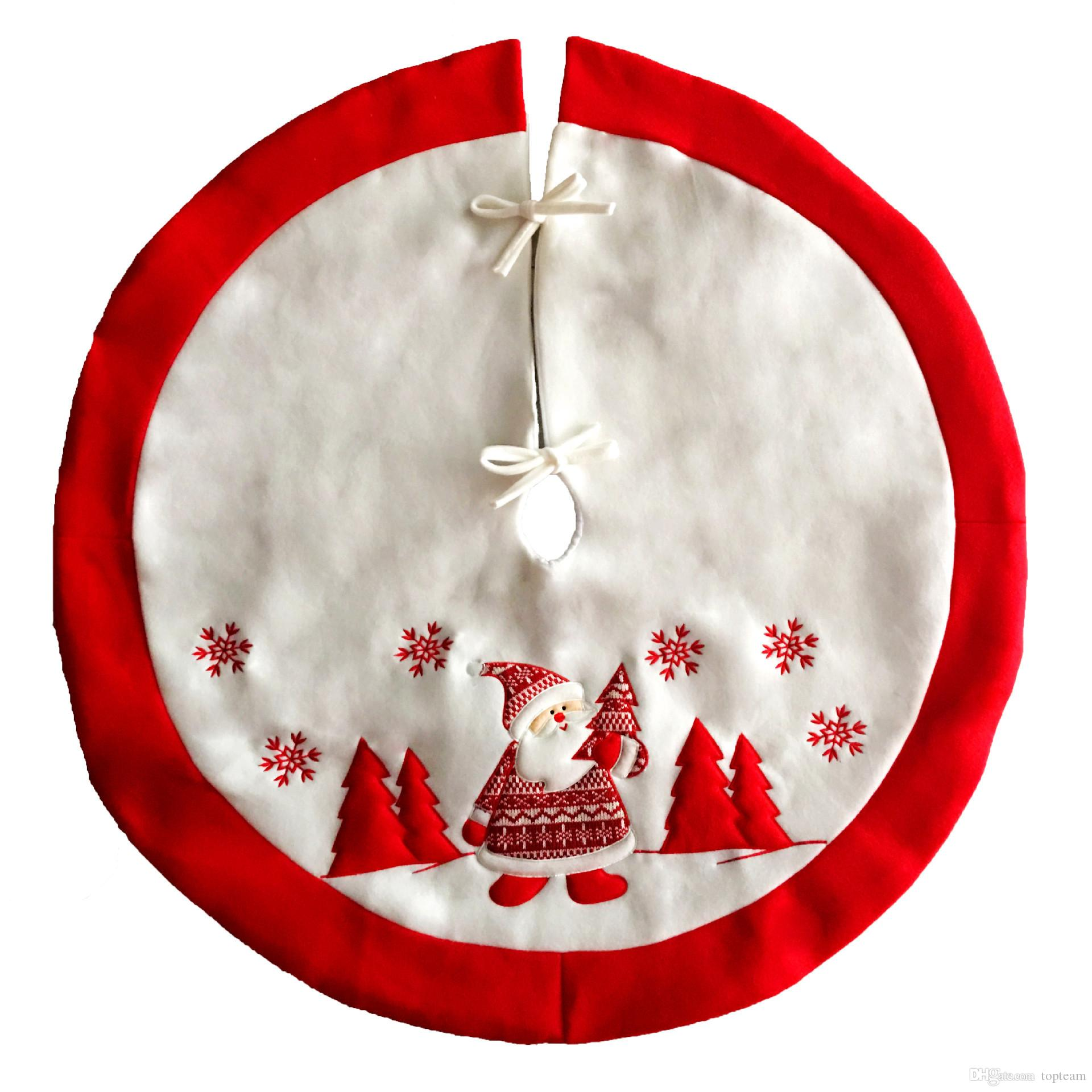 90cm red embroidered tree skirt apron christmas decorations for home