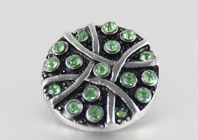 Nuovo arrivo sivler 18mm noosa pezzi pulsante giner con la lettera di moda strass verde jwlery accessori con bottone a pressione charm fit collana
